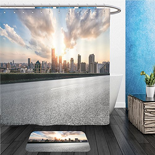 Beshowereb Bath Suit: ShowerCurtian & Doormat city road with cityscape and skyline of shanghai financial district at sunset - Road Garden City Country