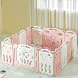 Albott Baby Playpen 14 Panels Play Yards, Game Panel and Gate with Safety Lock, Baby Fence Adjustable Shape for Children Todd