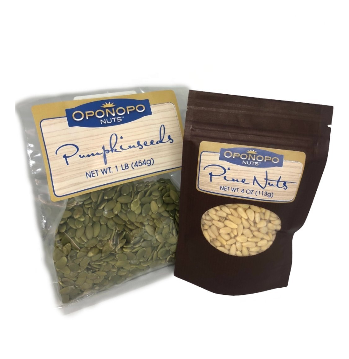 Raw pumpkin seeds 1lb and pine nuts 4oz bundle by Oponopo Nuts, no shell