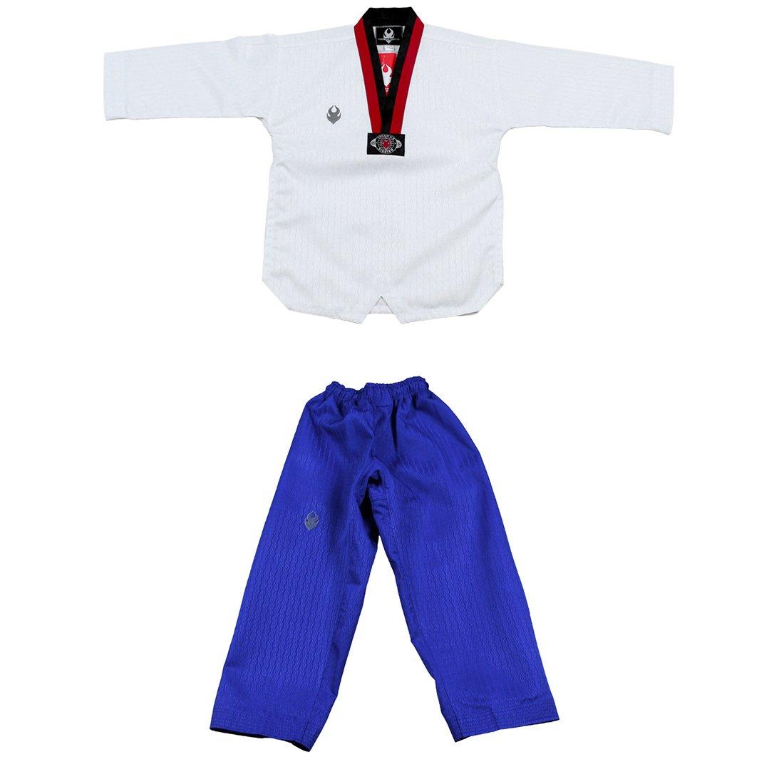 Taekwondo Poom Uniform Poom V-Neck and Blue Pants Martial Arts MMA TKD Karate Judo Hapkido (170(Height: 160~170cm)(62.9~66.9 inch)) by Taekwondo