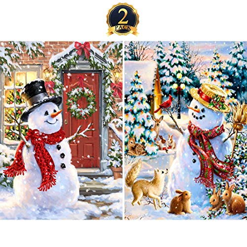 5D Diamond Painting Christmas Snowman Full Drill by Number Kits for Adults Kids, Yomiie DIY Rhinestone Pasted Paint with Diamond Set Arts Xmas Decorations (12x16inch, 2 -