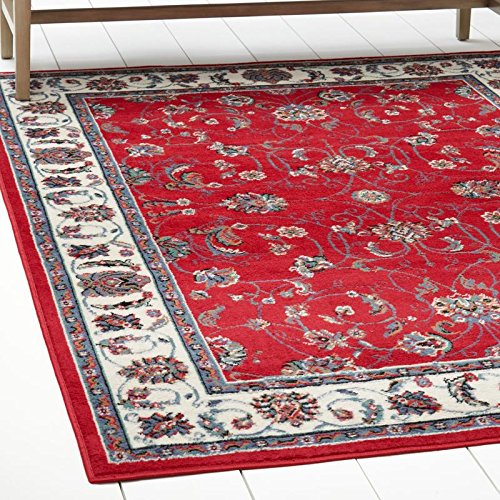 Border Red Area Rugs (Home Dynamix Traditional Style Area Rug by Premium Collection Muse Rug | Beautiful Floral Vine Border Design in Red and Cream | Indoor Stylish Decorative Rug | Style on a Budget 21