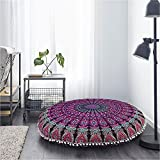 Mandala Pouf Cover Hippie Floor Cushion Cover Pink Mandala Throw Cushion Round Bedroom Pink Pillow Case 32 Inches Round Pouf Cover Indian Boho Seat Cover Bedding Bohemian Home Décor Hippy Decoration I