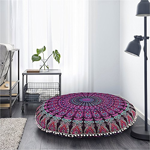 Hippy Home Decor (Mandala Pouf Cover Hippie Floor Cushion Cover Pink Mandala Throw Cushion Round Bedroom Pink Pillow Case 32 Inches Round Pouf Cover Indian Boho Seat Cover Bedding Bohemian Home Décor Hippy)