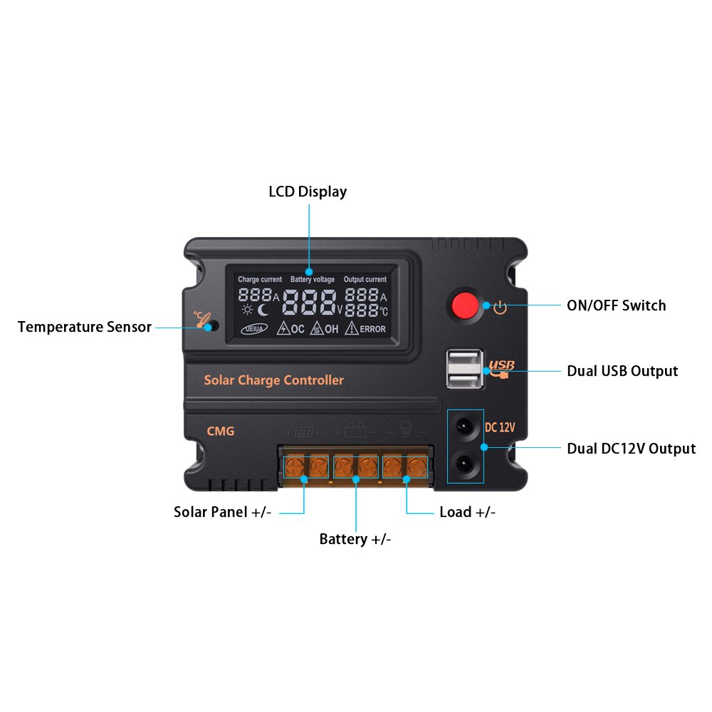 Anself 12v 24v Solar Charge Controller Panel Battery Solve The Disconnect Switch Wiring Dilema Once And For All Regulator Lcd Display Auto 10a Garden Outdoor