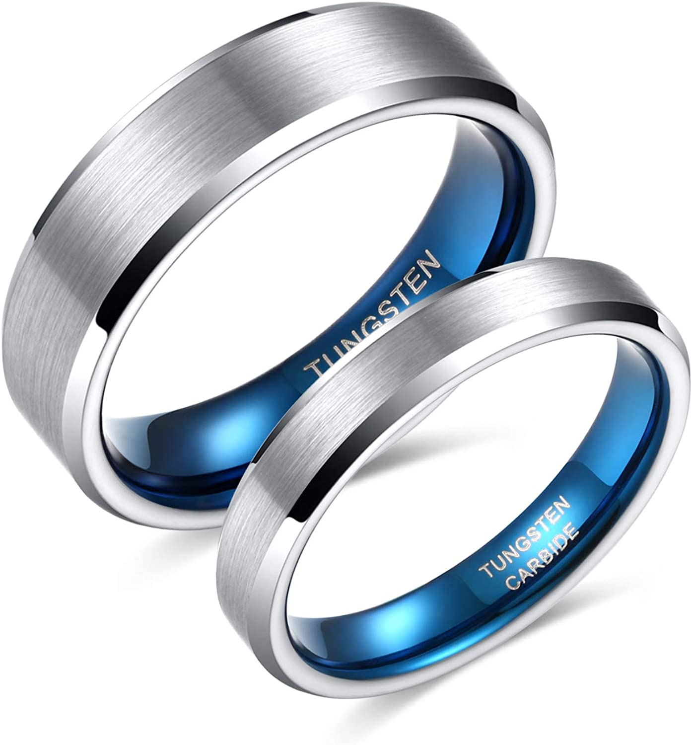 Greenpod 4mm 6mm Tungsten Wedding Band for Women Men Beveled Edge Engagement Rings Silver Blue Comfort Fit Size 4-14