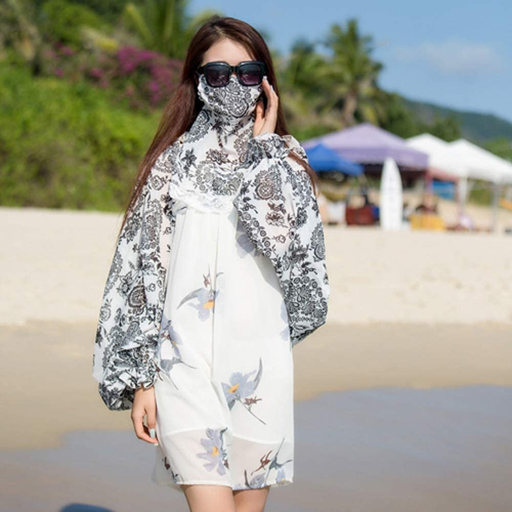 Uoyov Primavera y Verano de Las Mujeres Protector Solar Mantón máscara Femenina Verano protección del Cuello de Gasa Impresa de Manga Larga al Aire Libre sombreado de conducción Anti-UV: Amazon.es: Deportes y