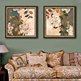 HomJo Paintings Flowers on The Branches Retro PVC With Frame Hang Painting Living Room Restaurant Bedroom Decorative Waterproof Painting (With frame)