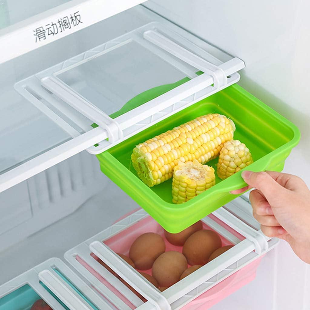 PHILSP Organizador de Almacenamiento Cocina Frigor/ífico Congelador Tipo de caj/ón Deslizante Ahorrador de Espacio Organizador de Almacenamiento Caja de Rejilla Azul