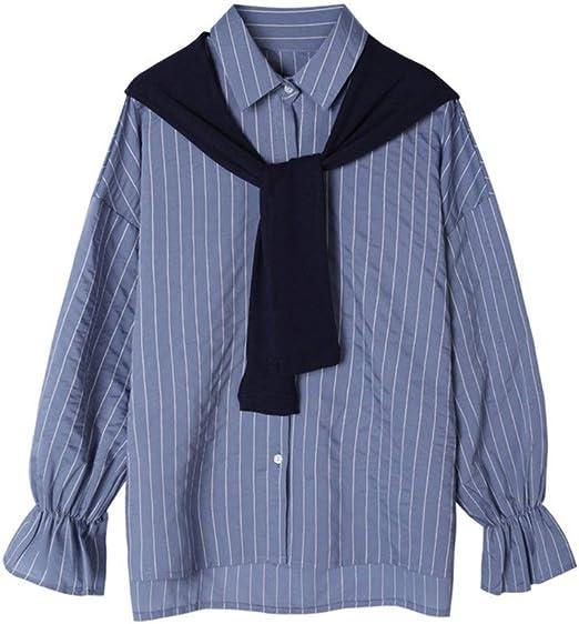 Blusa casual mujer Camisa retráctil de solapa de rayas verticales for mujer OL Camisa casual de dos piezas falsa salvaje Vestido de negocios superior transpirable delgado for damas Camisa Túnica Tops: Amazon.es: