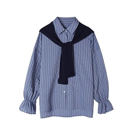 Blusa de mujer de manga larga Camisa retráctil de solapa de rayas ...