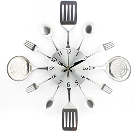 Foxom Relojes de Pared, Único Creativo Mudo Relojes de Pared Cocina Utensilios Entonados Tenedores Cucharas