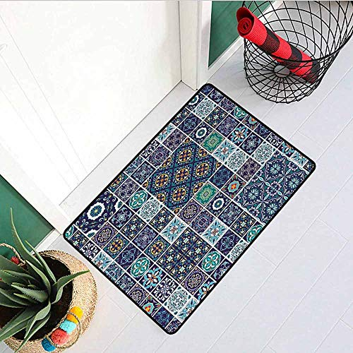 Gloria Johnson Ethnic Welcome Door mat Traditional Mosaic Azulejo Portuguese Cultural Ceramic Tiles Folk Design Door mat is odorless and Durable W31.5 x L47.2 Inch Teal Indigo Navy Blue