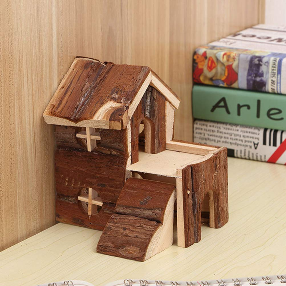 POPETPOP Syrian Hamster Hideout-Gerbil House Double Layers Hamster Wood Hut Cute Hamster Chew House Wood Hideouts for Small Animals