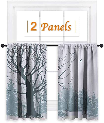 Winter, Living Room Curtains, Winter Season Theme A Tree Without Leaves in The Snowy Forest and Flying Birds, Drapes Blackout, W72 x L63 Inch Petrol Blue