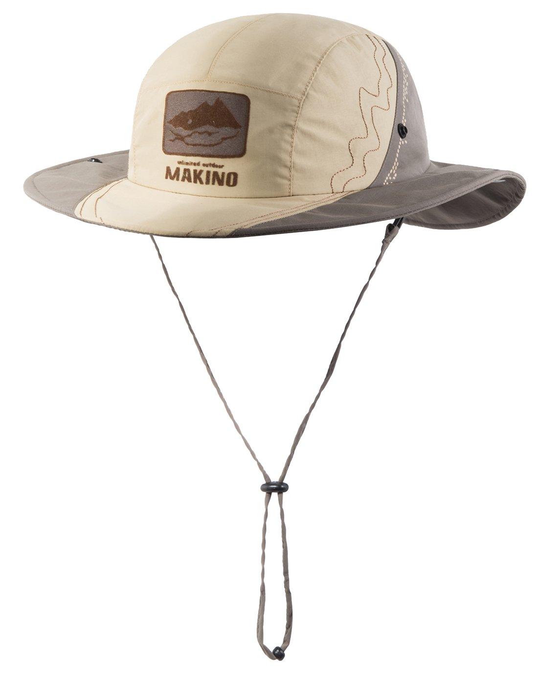 マキノ 日よけ帽子 防水 ユニセックス ハイキング トレッキング 釣り 登山 頭周り22.8インチ/58cm B01H6NNNHA  Khaki+Light Grey