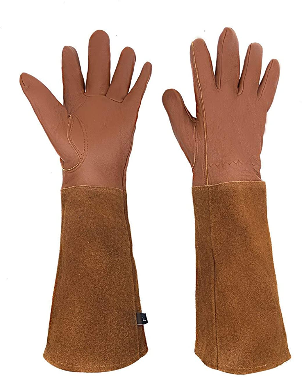 Garden Gloves for Women and Men Thorn Proof Cowhide Leather Work Gloves for Rose Bush Pruning