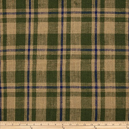 60in Sultana Burlap Plaid Moss/Royal Fabric By The - Fabric Plaid Green