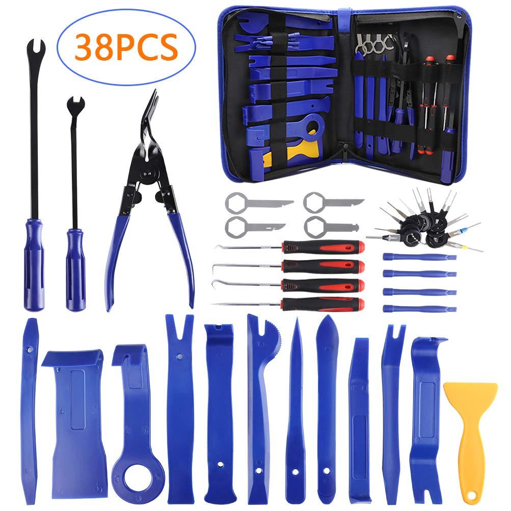 AUTDER 38 Pcs Car Trim Removal Tool Kits Interior Panel Door Audio Radio Repair Modification Pry Bar Set with Storage Bag