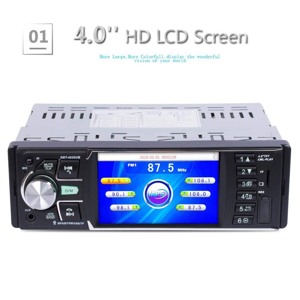 Reproductor radio FM auto Pantalla LCD alta definición Reproductor de audio y auto automóvil con retroiluminación a color 7 IR Cámara visión trasera: ...