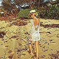 Chilly Jilly Bohemian Crochet Swim Cover up Bikini Tunic Beach Dress w Cute, Printed Headband