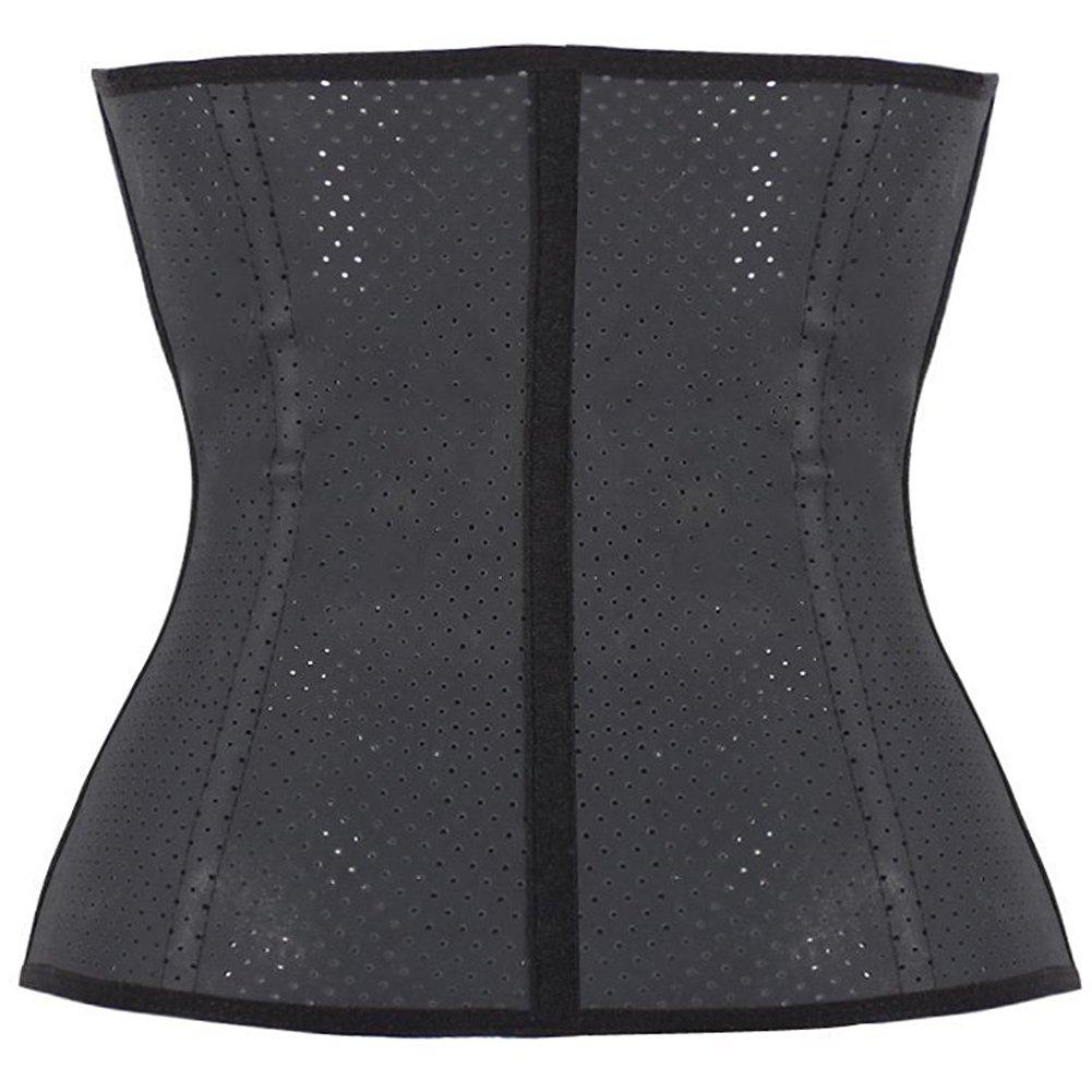 Black Latex Underbust Steel Boned Waist Trainer Cincher Body Shaper for Women Weight Loss, Mesh Black, S(Fit Waist 25\