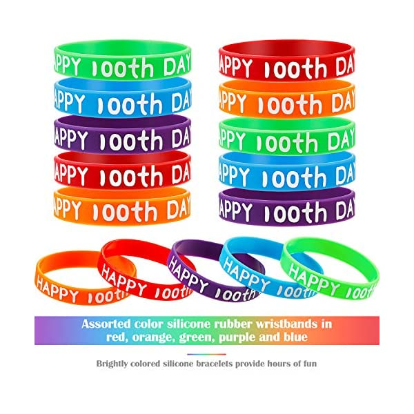 16 Colors 48 Pieces Happy 100th Day of School Silicone Wristbands Happy Silicone Bracelets Colored Stretch Rubber Bracelets for Students Kids Children Teens Birthday Party Supplies
