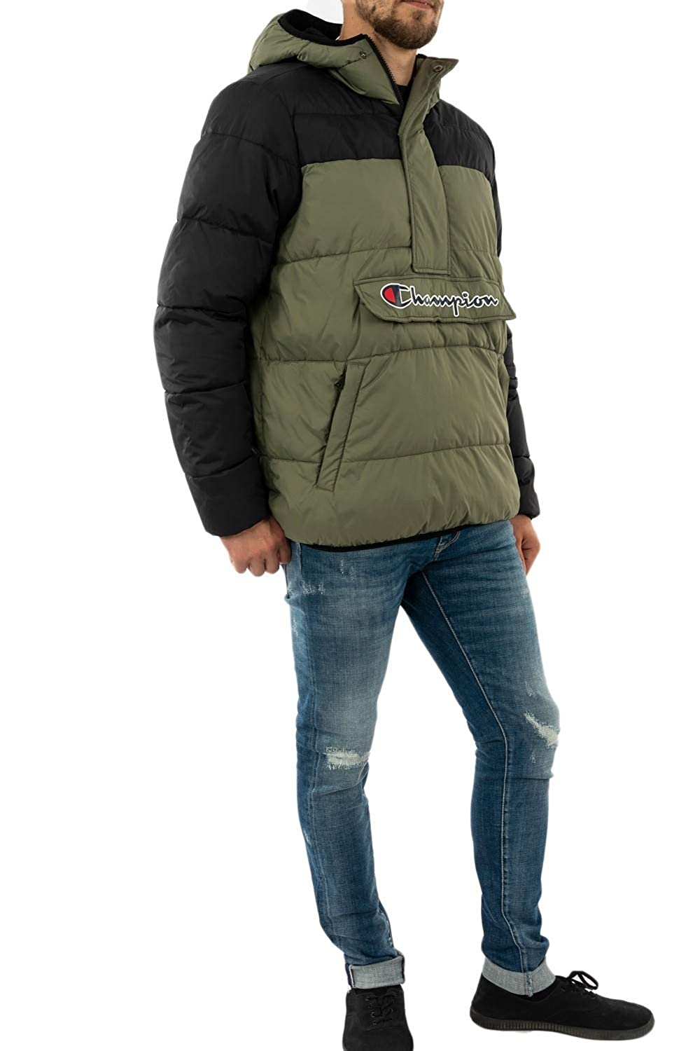 Green Champion Mens Logo Puffer Jacket