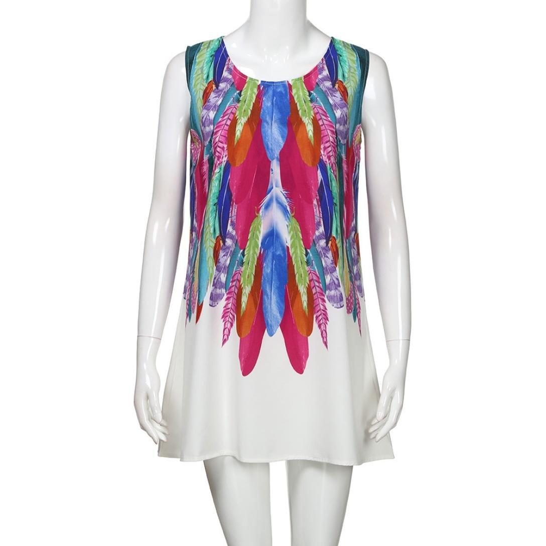Womens Printed Racerback Vest Mini Dress Kanpola Ladies Loose Summer Beach Sleeveless 3D Vintage Digital Floral Print Boho Round Collar Short Dresses