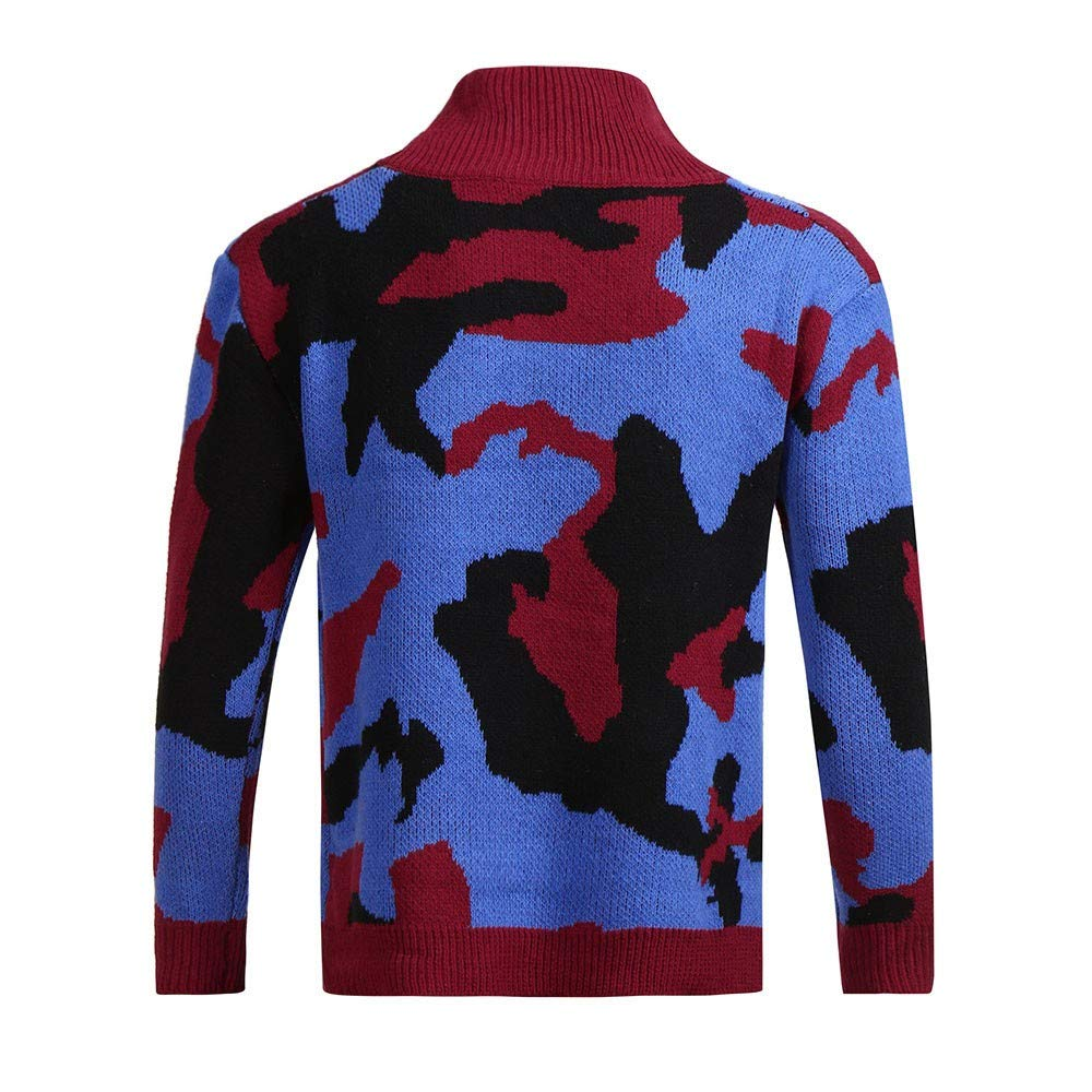 Serzul/_47 Mens Bodycon Casual Camouflage Knit Basic Turtleneck Pullover Sweaters Fashion Top Blouse