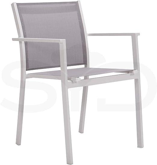 4 Sillas con Brazos Palma para jardín y Exterior. Aluminio 1ª Calidad Blanco y Textilene Batyline Gris Claro: Amazon.es: Jardín