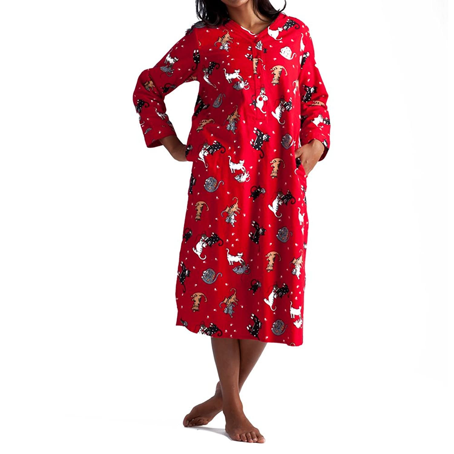 La Cera Women's Plus-Size Flannel Nightshirt