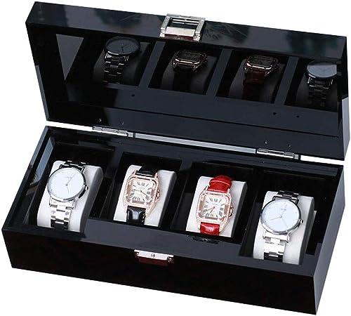 Watch Box 4 Reloj de Hombre Organizador de Vitrina Relojes de Pulsera de acrílico Caja de exhibición de joyería Llave y Cerradura, Top Negro: Amazon.es: Hogar