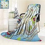 Digital Printing Blanket Arabian Ivy Swirls on Sky Blue Backdrop Print Summer Quilt Comforter