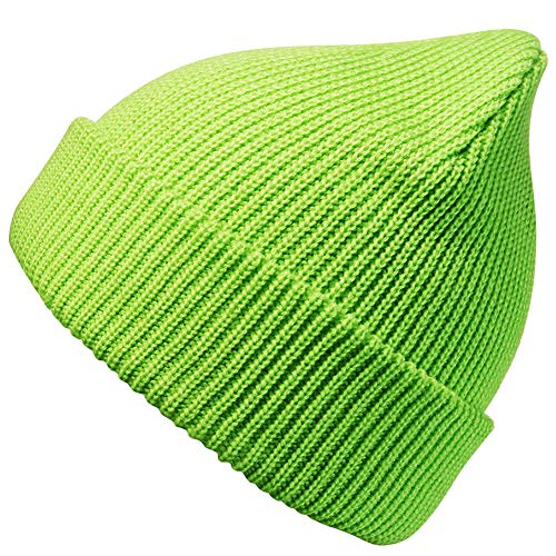 MaxNova Slouchy Beanie Hats Winter Knitted Caps Soft Warm Ski Hat (Lime Green)
