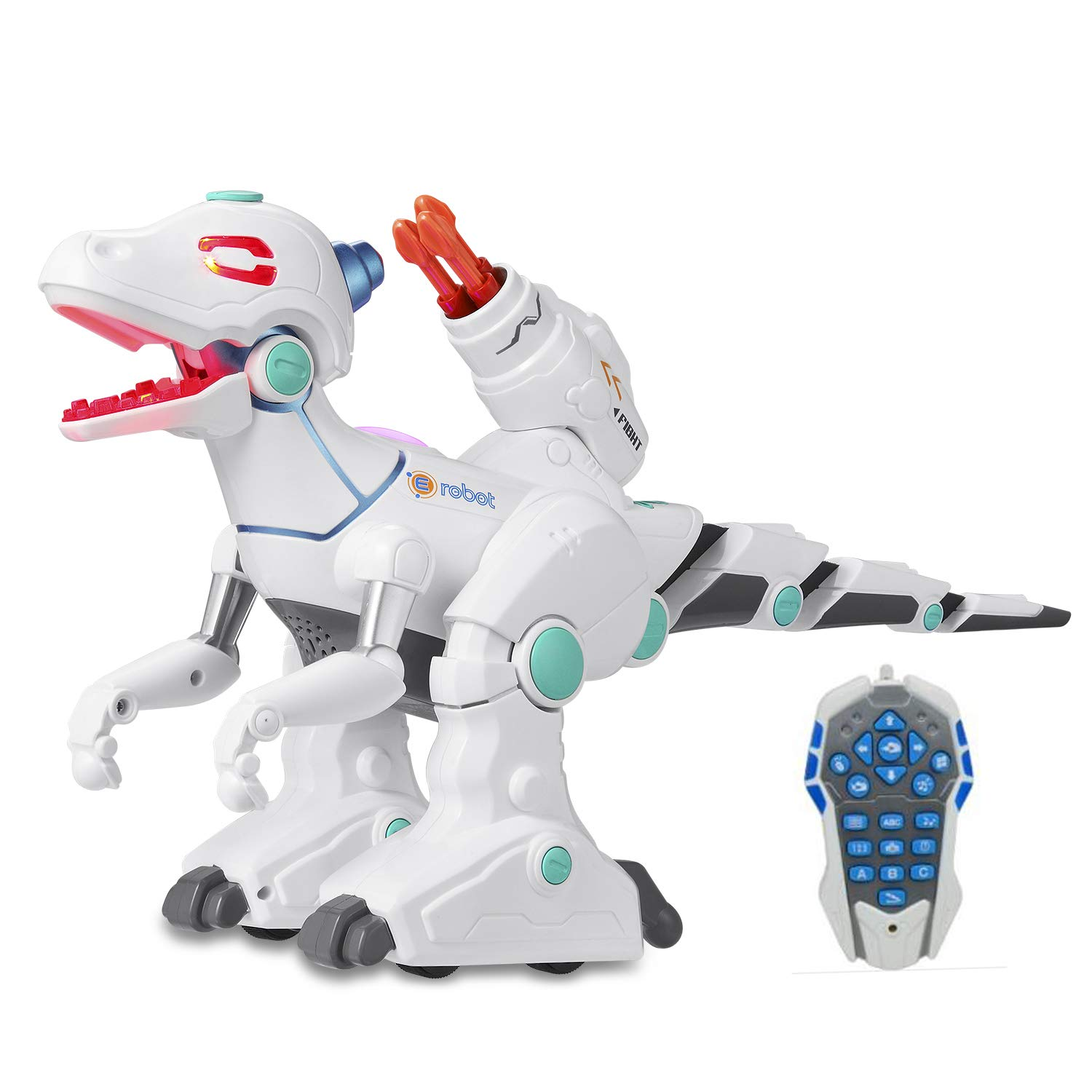 Haite Remote Control Robot Dinosaur, Dinosaur Toys for Kids, Dino Action, Sprays, Fight, Shooting, Live Sound, Rechargeable Intelligent Electronic Pet for Boys/Girls by Haite (Image #1)