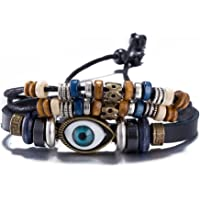 Yellow Chimes Bulles Eye Leather Wrap Bracelet for Men and Boys Casual Wear Fashion Jewellery