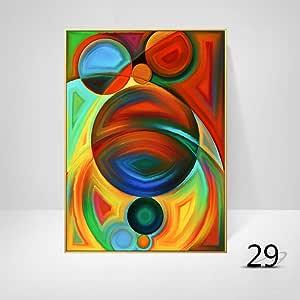 WSNDGWS Decoración de la Sala geométrica Arte Abstracto Color ...