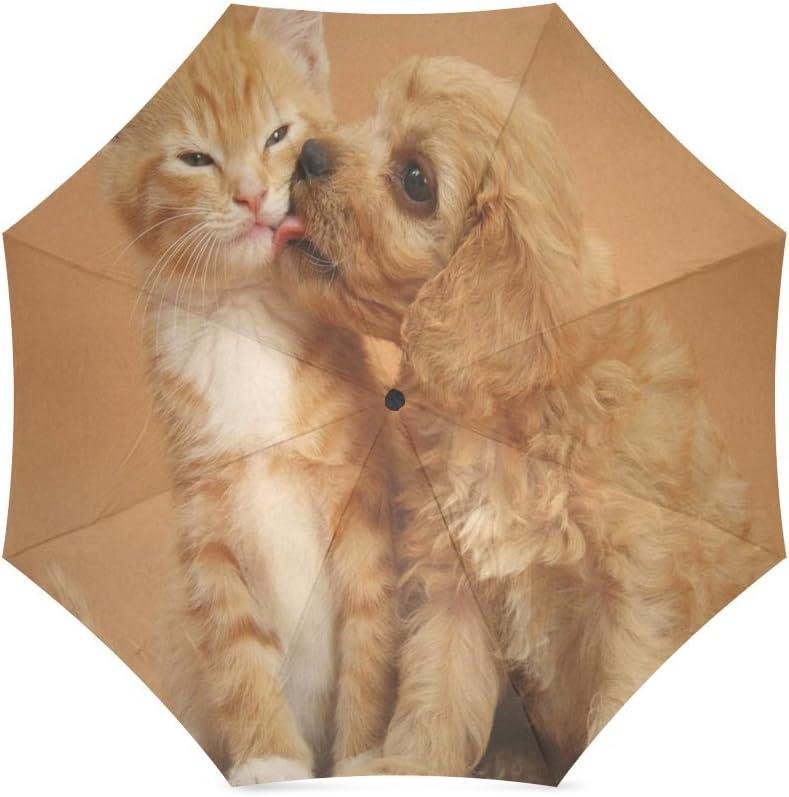 Custom Cute Cat and Dog Compact Travel Windproof Rainproof Foldable Umbrella