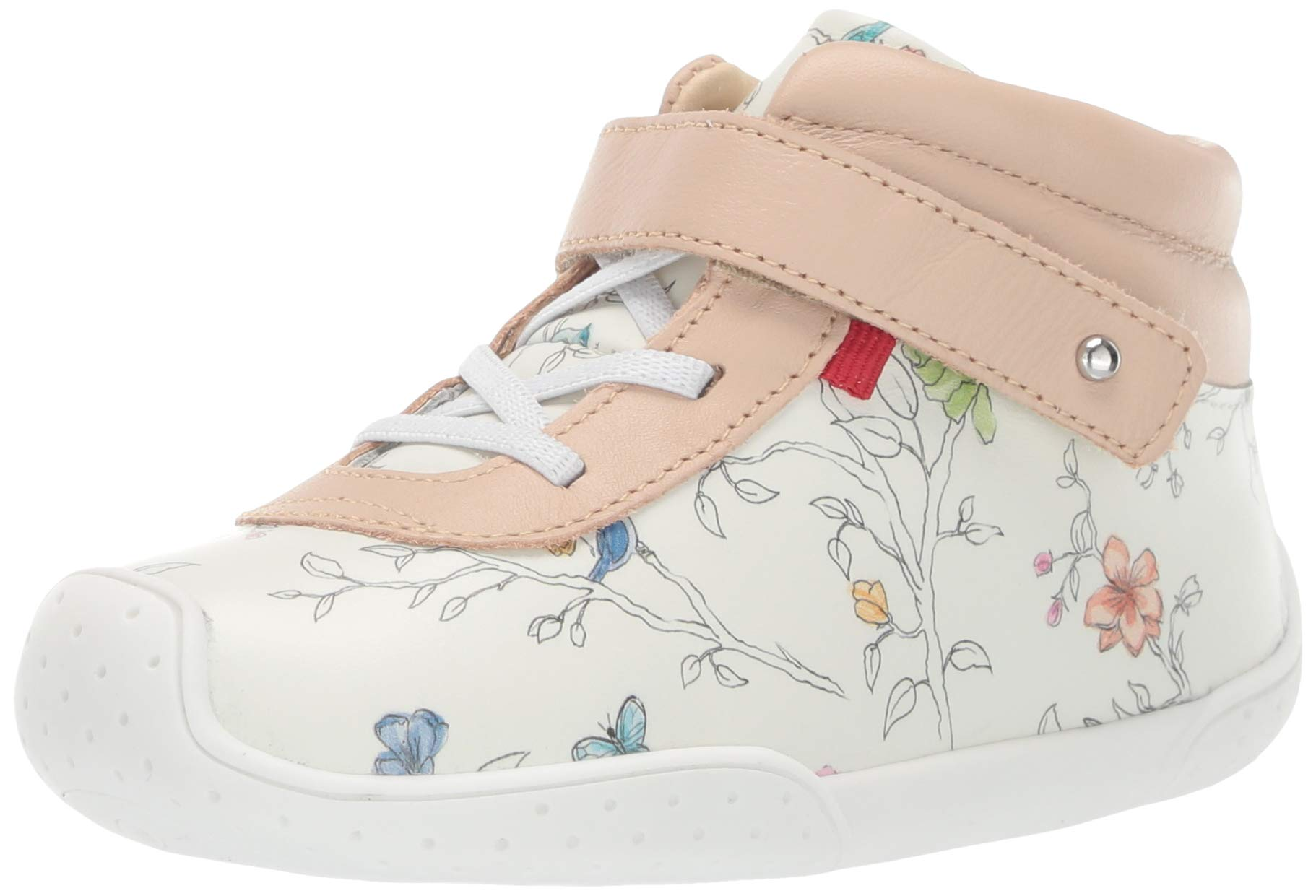 MARC JOSEPH NEW YORK Toddlers Baby Boys/Girls Leather Made in Brazil Floral Sneaker Loafer, White Blush, 8 M US by MARC JOSEPH NEW YORK