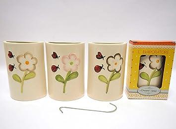 Set de 4 humidificadores de cerámica con diseño de flores para radiadores