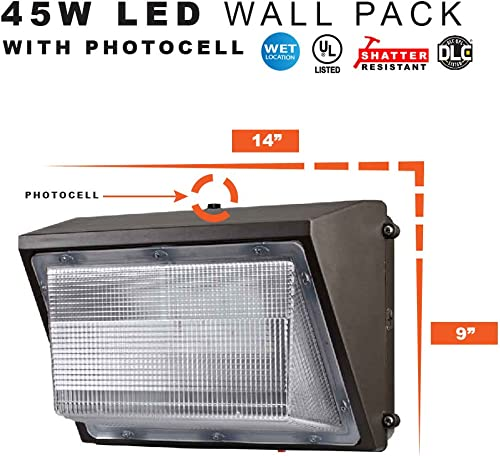 LED Security Light Dusk to Dawn Wall Pack, 45 Watts Replaces 175MH – 4500 Lumens, 5000K, Commercial Grade, UL DLC