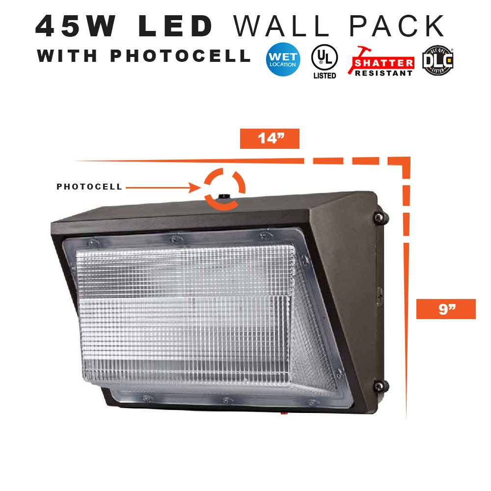 LED Security Light Dusk to Dawn Wall Pack, 45 Watts Replaces 175MH - 4500 Lumens, 5000K, Commercial Grade, UL & DLC