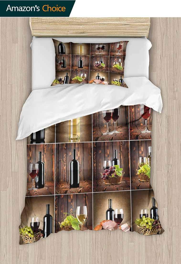 Wine Custom Made Quilt Cover and Pillowcase Set, Wine Themed Collage on Wooden Backdrop with Grapes and Meat Rustic Country Drink, Reversible Coverlet, Bedspread, Gifts for Girls Women Brown Black Red