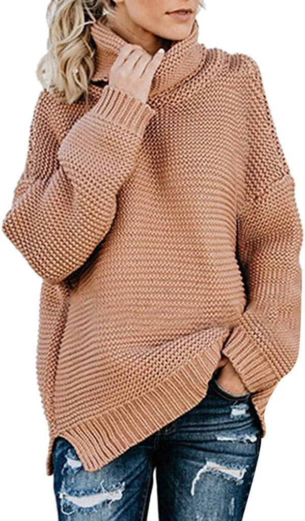 LUDAY Women's Long Sleeve Turtleneck Chunky Knit Loose Oversized Sweater Pullover Jumper Tops at  Women's Clothing store