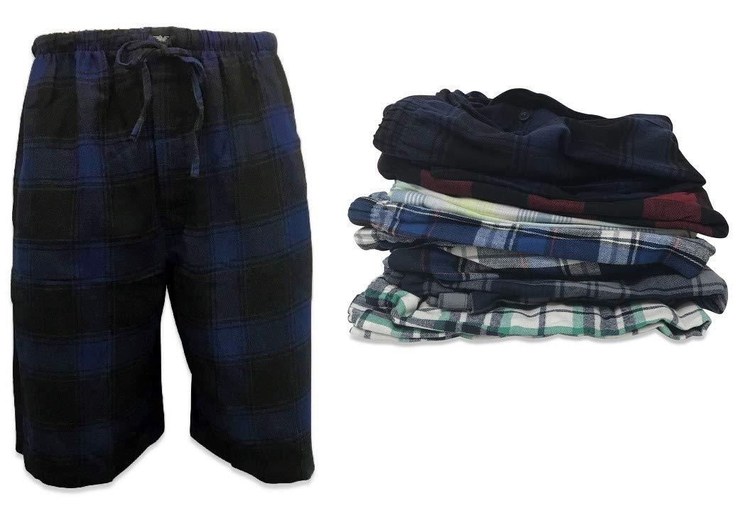 AMERICAN ACTIVE 24/7 Basics Men's 3 Pack Cotton Soft Sleep Lounge Pant Jam Cargo Shorts (L, 3 Pack - Plaid Assortment)