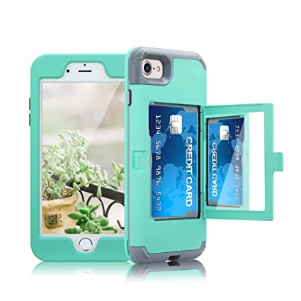 newest e0c6f 581ac ClarkCase iPhone 8 Case with Mirror Card Holder, lifeproof Heavy Duty  Protective Shockproof iPhone 7 Wallet Case Cover for Girls,Green