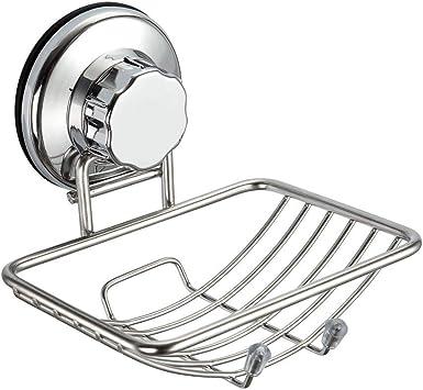 Suction Cup Soap Dish Holder Bar Sponge Shower Bathroom Kitchen Sink S
