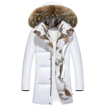 ZHRUI Abrigo de hombre, Talla grande Cuello de piel Abrigos gruesos con capucha Invierno Cálido