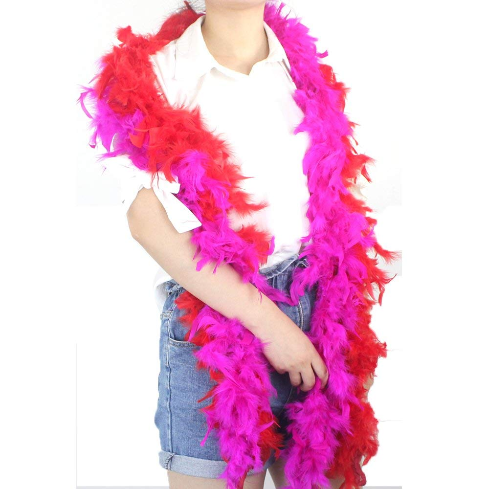 COCOBOO 6PCS 6.6ft Colorful Party Feather BOA Girls Feather boas